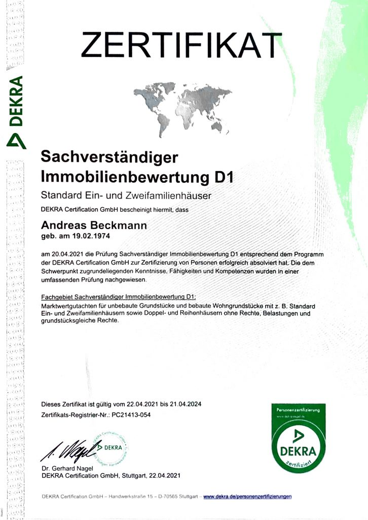 Dekra_Zertifikat Sachverständiger Immobilienbewertung